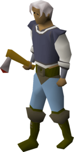 Steel axe equipped