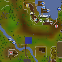 Hot cold clue - south of Fishing Guild map