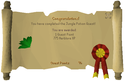 Jungle Potion reward scroll