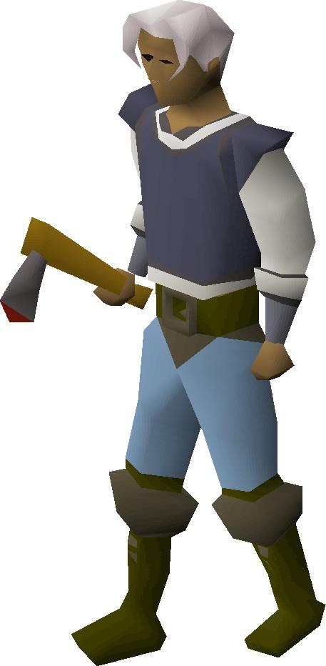 Iron axe equipped