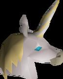 White unicorn mask detail