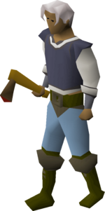 Bronze axe equipped