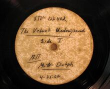 Acetate disc of The Velvet Underground