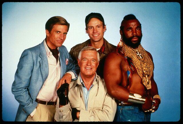 File:The-a-team-the-cast-mr-t-george-peppard-dwight-schultz-dirk-bendict.jpg