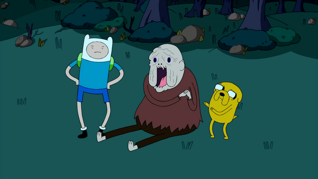 File:S1e22 Finn and Jake with happy Old Man Henchman.png