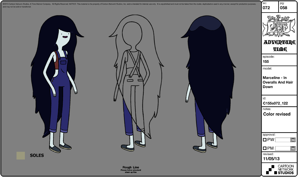 Character Design Adventure Time : Image modelsheet marceline inoveralls and hairdown