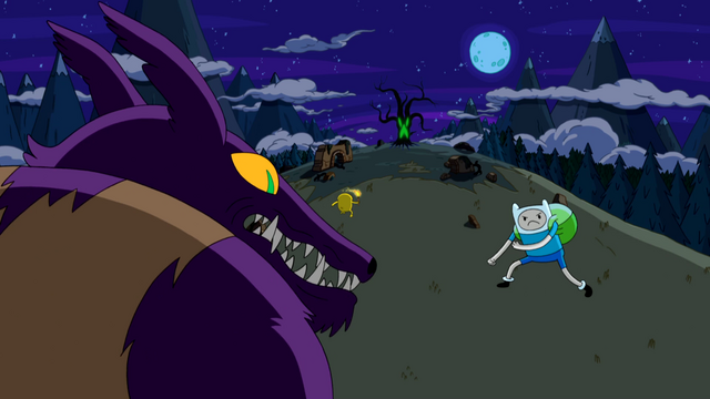 File:S4e8 Finn and Alpha Hug Wolf squaring off.png