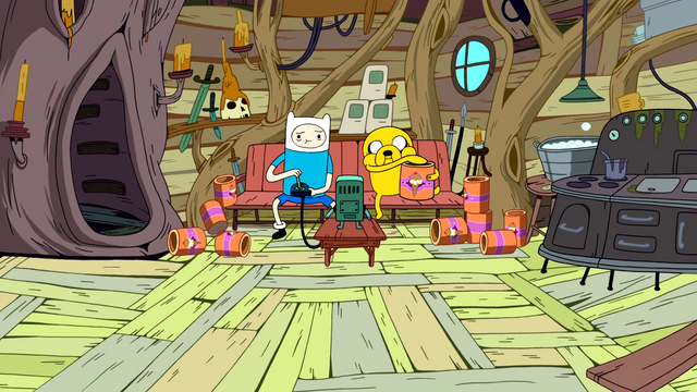 File:S1e8 Finn and Jake playing BMO surrounded by ice cream.png