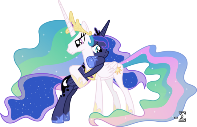 File:Princess Luna and Princess Celestia hugging fan art by artist-90sigma.png