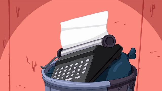 File:S5e43 typewriter in trash.png