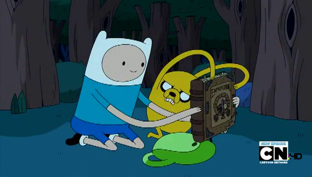 File:S4e7 finn and jake holding the enchiridion.png