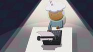 S5e43 Root Beer Guy at typewriter