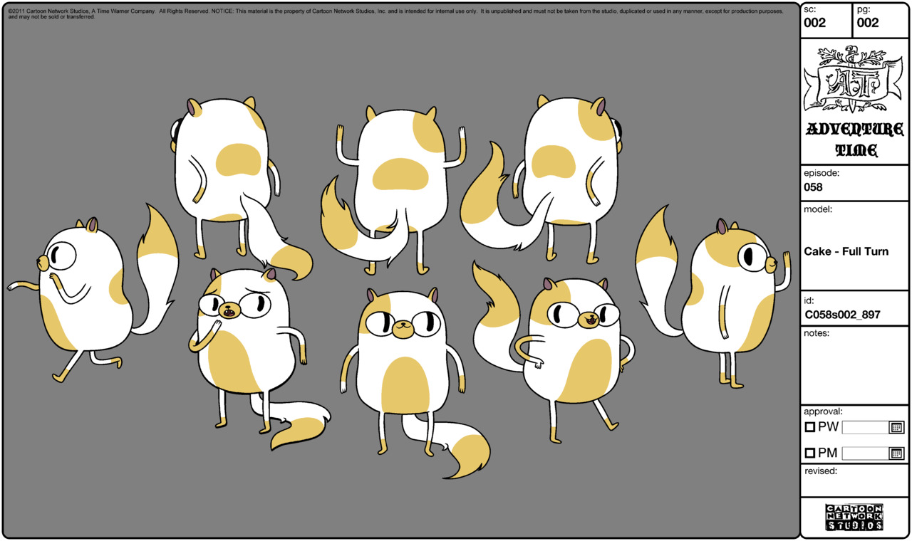 Character Design Adventure Time : Image modelsheet cake fullturn g adventure time