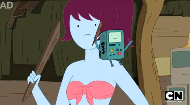 File:S5 e20 BMO on one of the bikini babe's shoulder.PNG