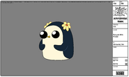 Modelsheet penguin withflower