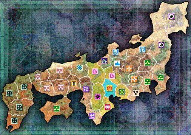 Sengoku Rance - Territory map