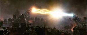 Godzilla and Kezier Ghidorah lock beams.