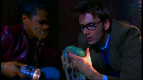 The Doctor and Martha find one of the abandoned embryos.
