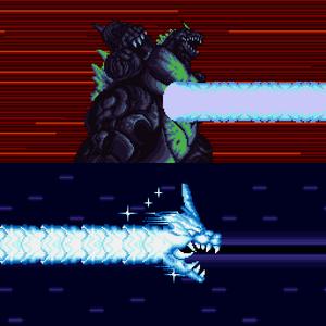 Super Godzilla uses his Nova Beam.