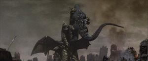Keizer Ghidorah begins to drain Godzilla's Energy.