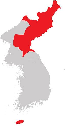 Partitioned Korea Map