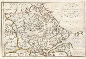 1788 Bocage Map of Thessaly in Ancient Greece ( the home of Achilles) - Geographicus - Thessaly-white-1793