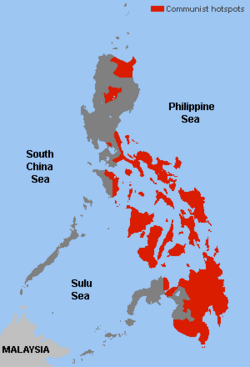 Communist hotspots in the Philippines
