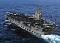 USS Ronald Reagan underway for disaster relief to Japan following earthquake.