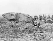 Canadian tank and soldiers Vimy 1917