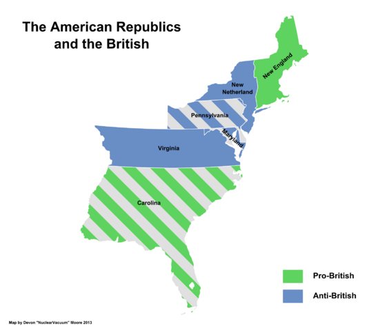 File:Map of the American Republics by relations with the United Commonwealth (13 Fallen Stars).png