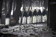 Police line at Hrushevsky