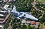 SAAF Saab Gripen flying a patrol over Pretoria