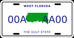 License plate of West Florida