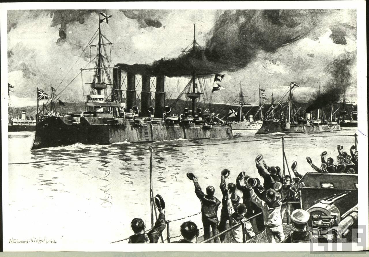 Подавление связи противника русским флотом во время русско-японской войны.