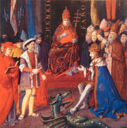 Henry VIII with Charles Quint and Pope Leon X circa 1520