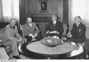 Munich Conference 29.9.1938 - Hitler with Mussolini and Chamberlain in study