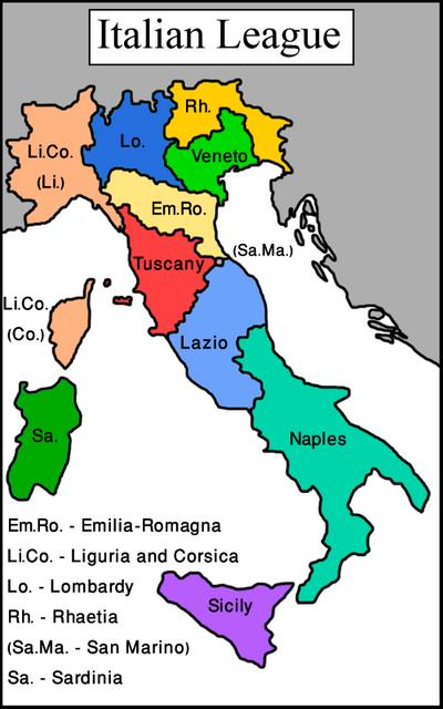 Map Italian League (Vegetarian World)