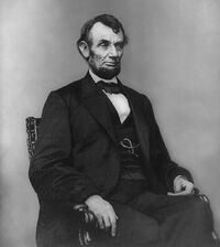 Abraham Lincoln seated, Feb 9, 1864