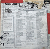Sing Again With The Chipmunks Back Cover