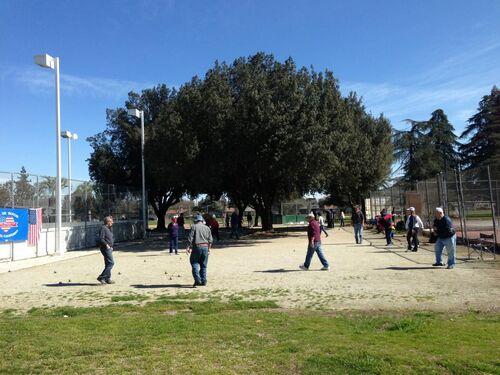 Petanque in cary park in fresno california