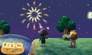Fireworks show in New Leaf