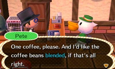 Animal Crossing New Leaf Sly Coffee