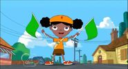 Holly starting the Tour de Ferb race