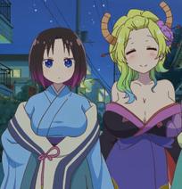 Elma and Lucoa New Year Stitched Cap (Miss Kobayashi's Dragon Maid Ep 11)