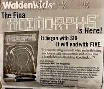 Waldenbooks Waldenkids Animorphs book 54 the beginning advertisement