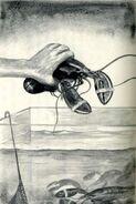Hand picks up marco as lobster The Predator Japanese illustration