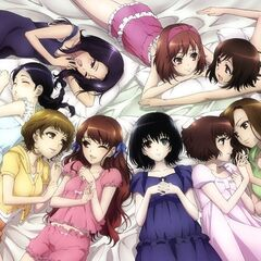 San with the other girls. She's above Sayuri, and looks like she's about to fall asleep.