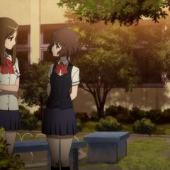 Aki and Kyouko in the courtyard.