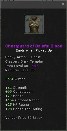 Chestguard of baleful blood
