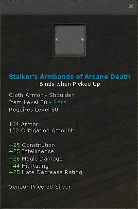 Stalkers armbands of arcane death